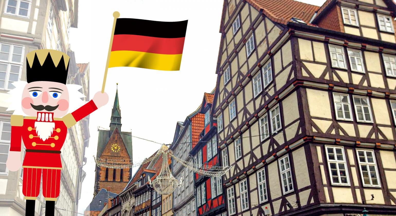 ドイツの街並み くるみ割り人形 ドイツ国旗